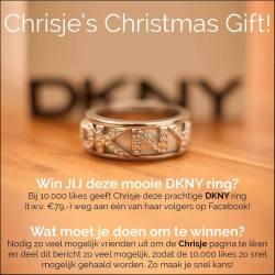 de prachtige DKNY damesring (maat 18) wordt verloot bij 10.000 likes op de facebook pagina.